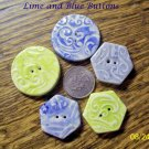 Hm One-Of-A-Kind *~LIME & BLUE BUTTONS*~ MIX OF 5