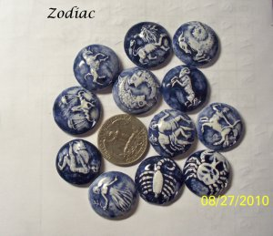 ~12 ZODIAC COINS~ HM Mosaic Tiles-Charms-Buttons Blue