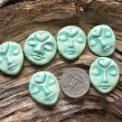 6 HM Pottery *~TURQUOISE HEART FACES~* Mosaic, Jewelry