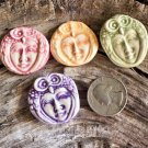 4 HM Pottery*~COLORFUL OWL FACE LADIES~*Mosaic, Jewelry