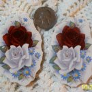 2 Mosaic Tiles ~*RED & WHITE ROSES*~ HM FOCALS CENTER