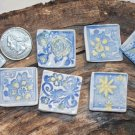 Mosaic Tiles~LIGHT BLUE & YELLOW+~7 Kiln Fired HM Clay