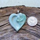 HM Pottery Ceramic *~LOVERS EMBRACE AQUA~*/Pendant