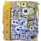 Fabulous *~AQUA BLUE VALENCIA CHINTZ~ 50+ Mosaic Tiles