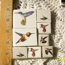 Mosaic Tiles~*SET OF HUMMINGBIRDS*~8 FOCALS~Kiln Fired