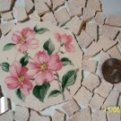 Broken China ~PINK FLORAL CENTER~78 Vintage MosaicTiles