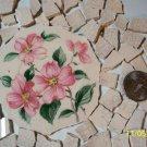 Broken China ~PINK FLORAL CENTER~78 Vintage MosaicTiles