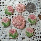 7 Gorgeous Pottery ~*PINK ROSES*~ Jewelry -Mosaic Tiles