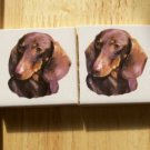 Mosaic Tiles *~DARLING DASCHUNDS~*  2 LG HM Kiln Fired