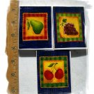 SaLe~LUSCIOUS FRUIT FOCAL TILES*~3 Mosaic Tiles Focals