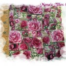 ~BEAUTIFUL BIG ROSE CHINTZ~ 40+ Mosaic Tiles