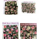 ~Assorted ~*PINK ROSE CHINTZ on BLACK~ 50+ Mosaic Tiles