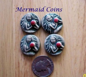 4 Pottery Art*  Embellishments ~*MERMAID COINS ~Mosaic