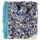 SB2  ~FaBuLoUs ~BLUE FLORAL CHINTZ~ 50+ Mosaic Tiles