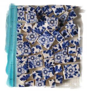SB2  ~FaBuLoUs ~BLUE FLORAL CHINTZ~ 50+ Mosaic Tiles