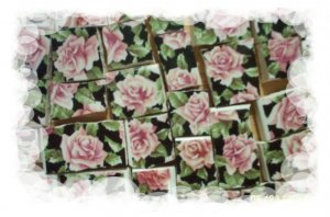 Mosaic Tile ~PRETTY~CHINTZ ROSES~on Black~ 50+ HM Tiles