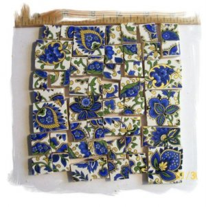 Elegant *~BLUE &amp; 22K GOLD CHINTZ~*  50+ Mosaic Tiles
