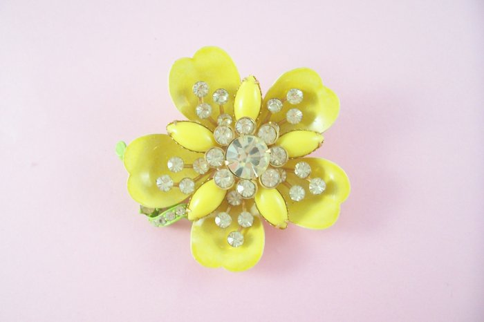 Vintage Jonquil Yellow Rhinestone Brooch Lemon Yellow Enamel  Flower