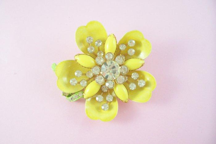 Vintage Jonquil Yellow Rhinestone Brooch Lemon Yellow Enamel  Flower