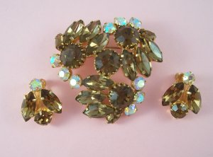 Vintage Topaz Rhinestone Brooch Earring Demi Set Large Aurora Borealis Floral Design