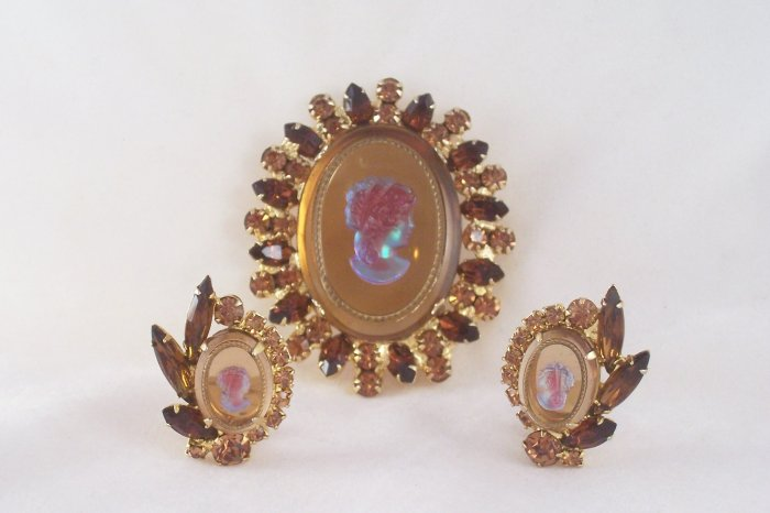 Vintage Juliana Topaz  Rhinestone Cameo  Brooch Earrings Delizza and Elster Intaglio Demi