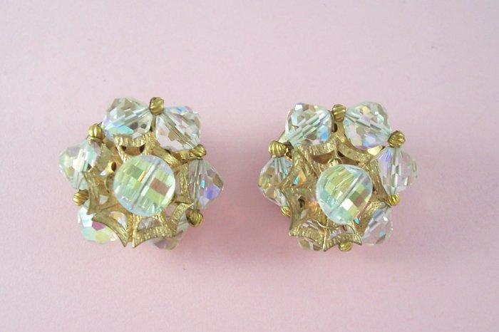 Vintage Crystal  Aurora Borealis Earrings Gold Tone Unique Design