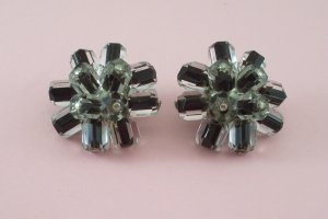 Vintage Clear and Black Glass Beaded Earrings Japan Signed