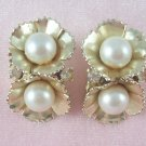 Vintage Coro  Flower Earrings Rhinestone Faux Pearl Floral Design