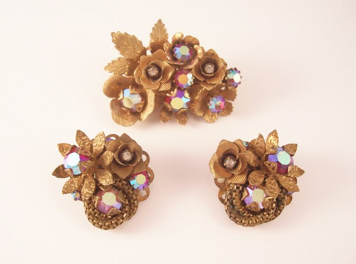 Vintage Siam Red Aurora Borealis  Rhinestone Brooch  Earrings Set Floral Demi