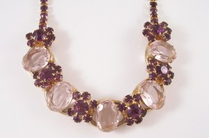 Vintage Delizza and Elster Juliana  Necklace Pink and Purple Amethyst Rhinestone  Pink Cabochons
