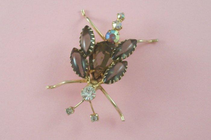 Vintage Smoked Topaz Rhinestone Dragon Fly Bug Brooch  Figural