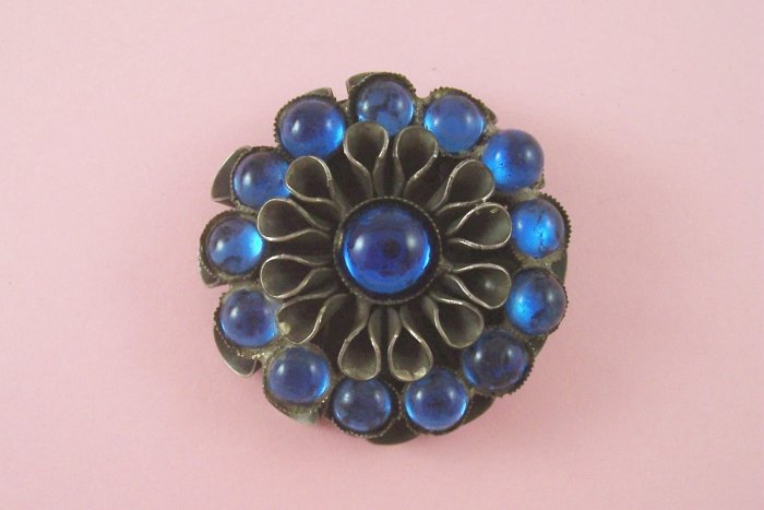 VintageArt Deco Dress Clip Signed Style Metal Spec N.Y.  Blue Glass Cabochon Rhinestone 1930�s
