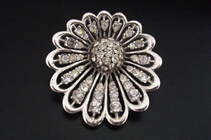 Vintage Boucher Sterling MB Phrygian Cap Pave Starburst Rhinestone Flower Clip Pin No. 2400