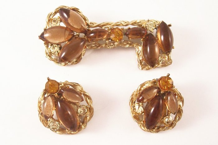 Vintage Topaz Rhinestone  Brooch and Earrings Key Design Demi Set