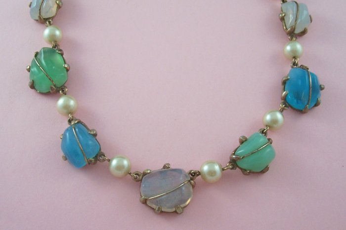 Vintage  Molded Glass Cabochon  Necklace Simulated Pearl Pastel Colors