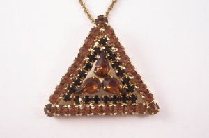 Vintage Parklane Rhinestone Pendant Necklace Topaz and  Black Triangle Design