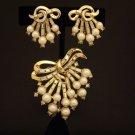 Vintage Trifari  Faux Pearl Rhinestone Brooch Earring Demi Philippe Design Set Patent  167055