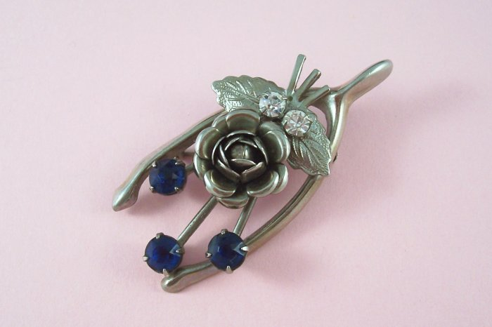 Vintage  Blue Rhinestone Wishbone Brooch Rose Spray Accent