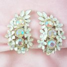 Vintage Aurora Borealis  Rhinestone Earrings Enamel  Dogwood Flowers