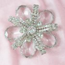 Vintage Crystal Rhinestone Flower Brooch  Pave Ribbons Big Brooch