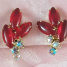 Vintage Ruby Red Rhinestone Aurora Borealis Open Back Earrings