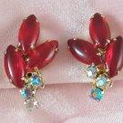 Vintage Ruby Red Rhinestone Aurora Borealis Open Back Earrings