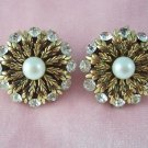 Vintage Rhinestone Faux Pearl Earrings Gold Tone Acanthus Leaf