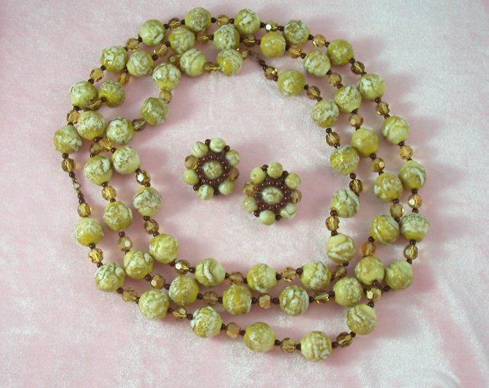 Vintage Beaded Necklace Earrings Set Topaz Aurora Borealis Crystals