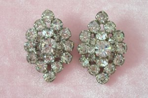 Vintage Rhinestone Earrings Large Fancy Oval Design