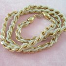 Vintage Crown Trifari Necklace Gold Tone Links Seed Bead Braided Chain
