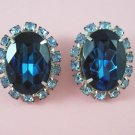 Vintage Large Sapphire Blue Cabochon Rhinestone Earrings Light Blue Rhinestones