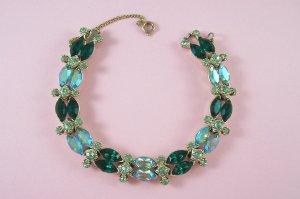 Vintage Emerald Green Aurora Borealis Rhinestone Bracelet Peridot AB Rhinestones
