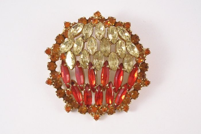 Vintage Delizza and Elster  Hyacinth Navette Rhinestone Brooch Juliana Jonquil Yellow  and Topaz