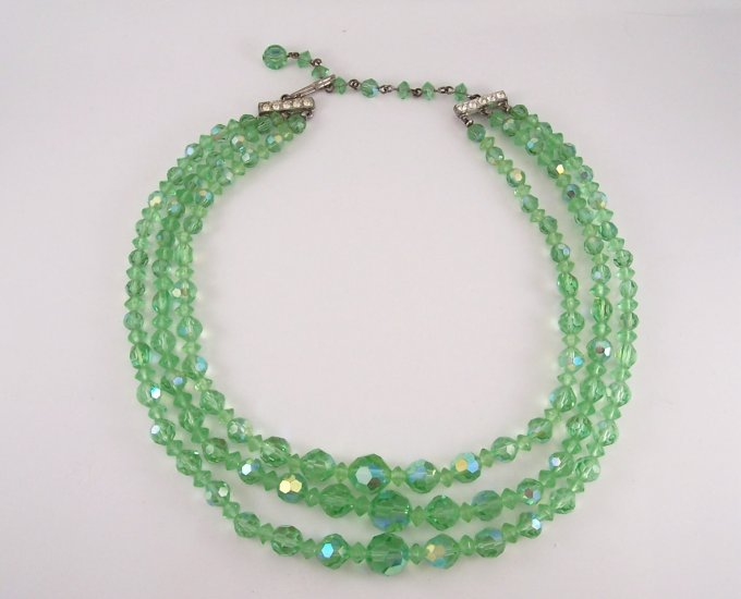 Vintage Green Crystal Aurora Borealis Three Strand Necklace Faceted Beads Rhinestone Accents
